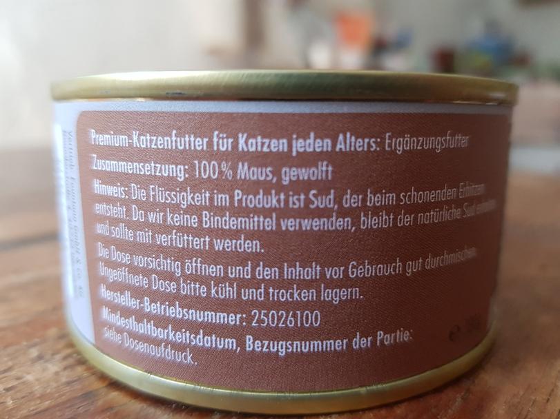 Etikett Katzenfutter Maus in der Dose
