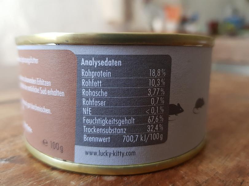 Etikett Analysedaten Katzenfutter